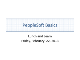 PeopleSoft Basics