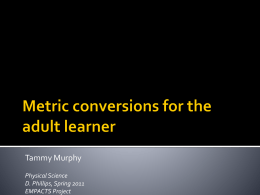 Metrics for Adults - NWACC