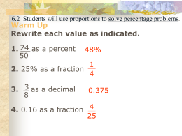 The Percent Proportion - PMS-Math