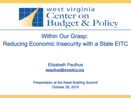 WithinOurGrasp_Oct29 - West Virginia Center on Budget & Policy
