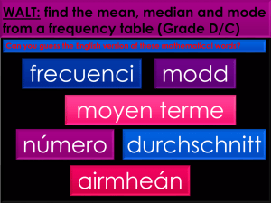WALT: find the mean, median and mode from a frequency table