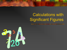Significant Figures and Conversions