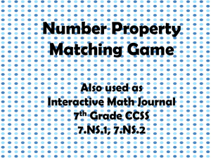 Game: Number Property Matching (ppt)