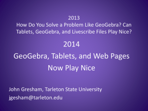 GeoGebra, Tablets, and Web Pages Now Play Nice