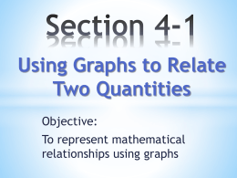 Section 4-1 Using Graphs to Relate Two Quantities