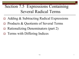 Expressions Containing Several Radical Terms
