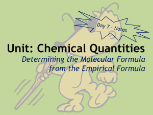 Unit: Chemical Quantities Determining the Molecular Formula from