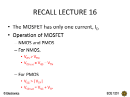 MOSFET - DC Analysis