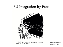 Section 6.3: Integration by Parts