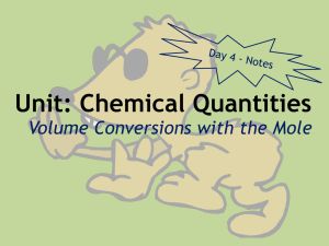 Unit: Chemical Quantities Volume Conversions with the Mole