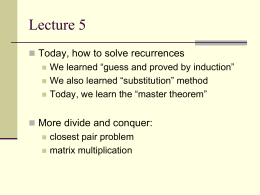 Lecture 5, January 18