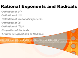 Rational Exponents and Radicals