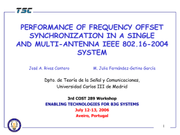 performance of frequency offset synchronization in a