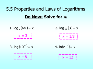 5.5 Properties and Laws of Logarithms