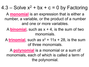 4.3 – Solve x2 + bx + c = 0 by Factoring