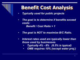 Lecture 11: Benefit Cost Analysis