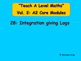 28 Integration giving Logs