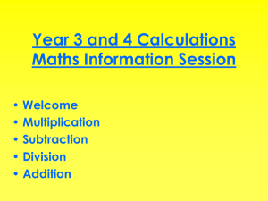 Calculation Policy - Y3 & Y4