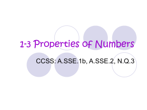 1-3 Properties of Numbers