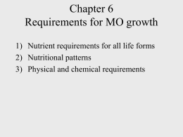 Chapter 6 Requirements for MO growth