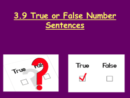 True and False Number Sentences