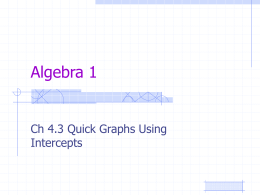 Ch 4.3 Quick Graphs Using Intercepts