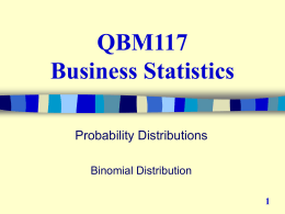 Week 4, Lecture 2, The binomial distribution