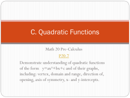 Unit C - Different Forms and Quadratics