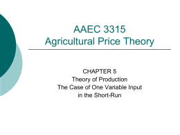 Theory of Production - Department of Agricultural and Applied