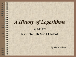 A History of Logarithms - Department of Mathematics | Illinois State