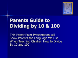 Parents Guide to Multiplying and Dividing by 10