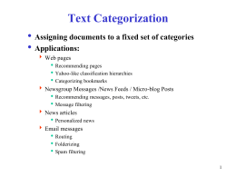 Notes on Text Categorization