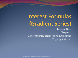 Interest Formulas – Gradient Series