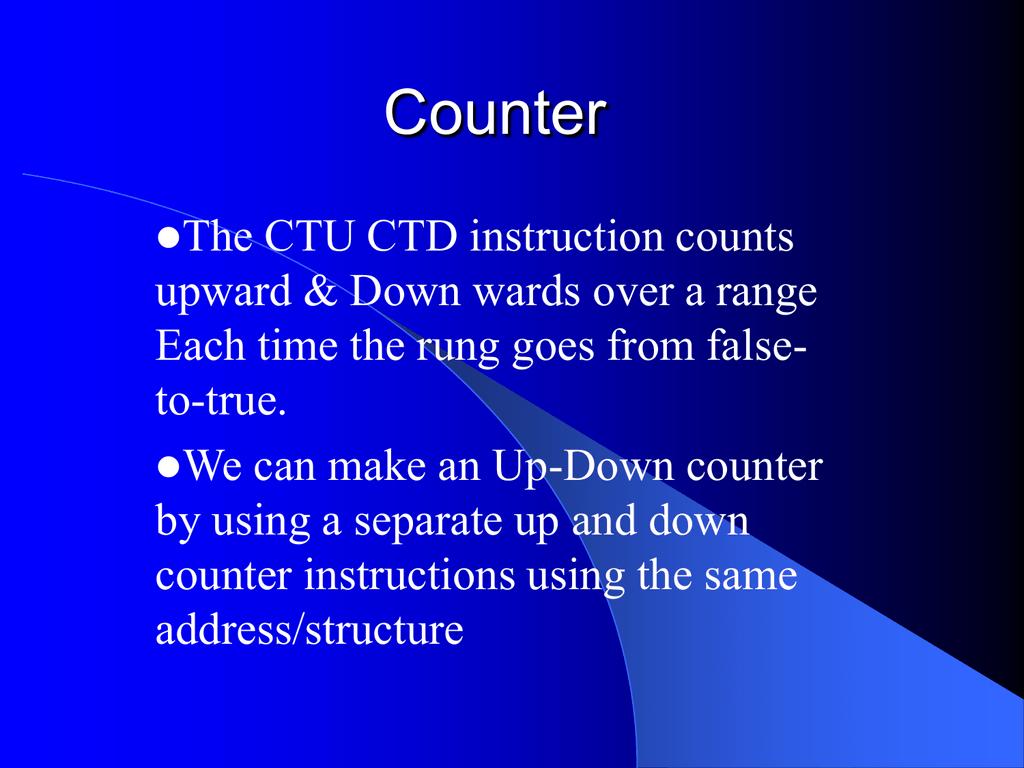 Counter Data File - PLC 1 & PLC 2 Class Notes