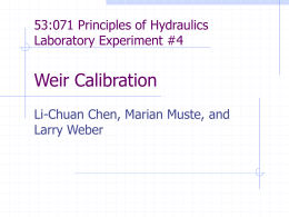 53:071 Principles of Hydraulics Laboratory Experiment #1 Energy