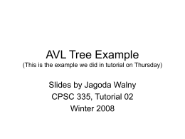 AVL Tree Example (from tutorial)