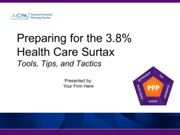 Preparing for the 3.8% Healthcare Surtax