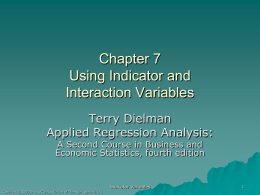 13.3 Indicator Variables