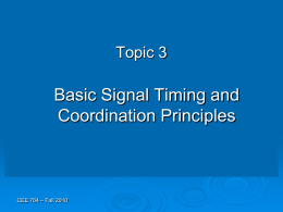 Topic 3 - Signal Coordination