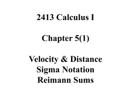 2413 Calculus I Chapter 5(1)