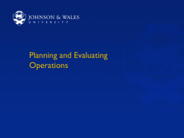 Planning and Evaluating Operations