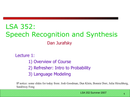 LSA.303 Introduction to Computational Linguistics