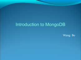 Intro to MongoDB