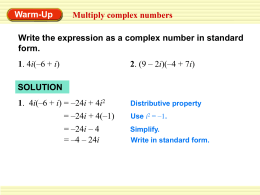Alg 2 Mult and Divide Complex Numbers