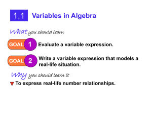 1.1: Variables in Algebra
