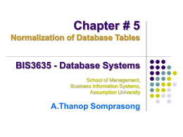 Chapter # 5 (Normalization of Database Tables)