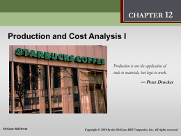 Production and Cost Analysis I