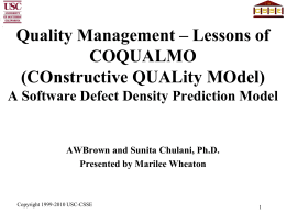 COQUALMO: Quality Model Extension to COCOMO II