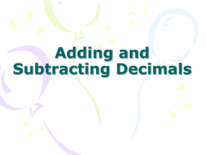 Adding and subtracting Decimals