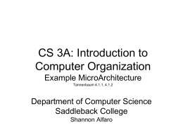 An Example MicroArchitecture - CS Department